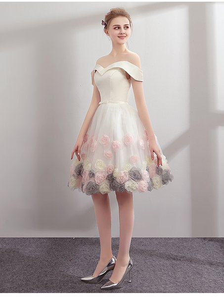 Knee Length Homecoming Dresses 3D Rose Flowers Lovely Cute with detachable Bolero Off the shoulder Party Gowns Maid Of Honor Dress