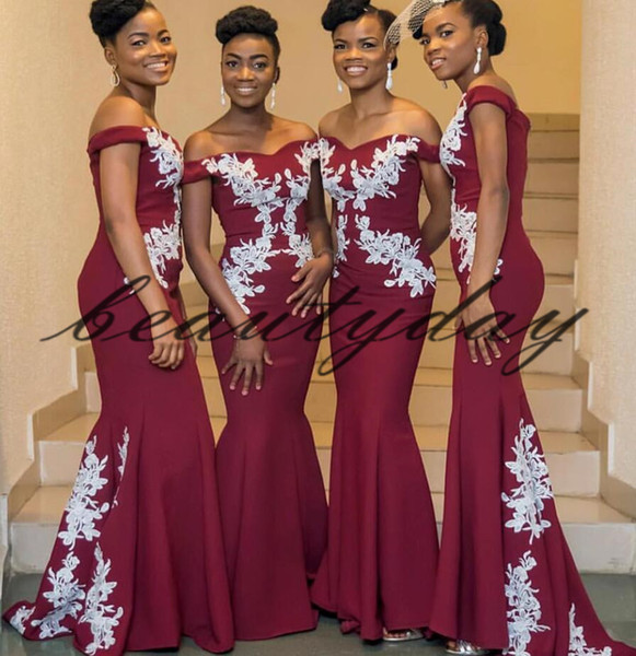 e9f079fbee3 Maroon Lace Bridesmaid Dresses 2019 New African Style For Nigerian Maid Of  Honor Gowns Formal Wedding