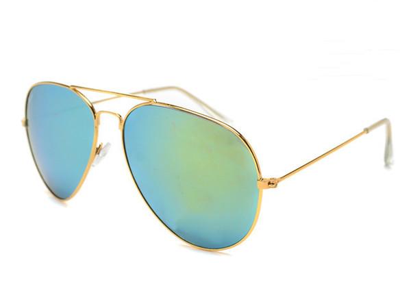 Brand Designer Occhiali da sole Classic Occhiali da sole per uomo Donna Driving Glasses UV400 Montatura in metallo Flash Mirror Lenti con rivestimento