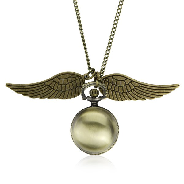 Elegant Harry Golden Ball Pocket Watch Potter Wings Quartz Watch With Sweater Necklace Chain steampunk Watches