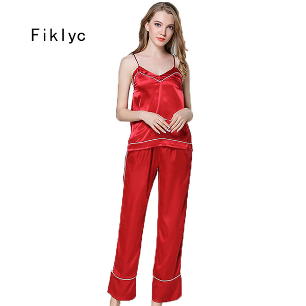 Fiklyc brand female sexy sleeveless satin pajamas sets with long pants fashionable high quality women's sleepwear sets pijamas