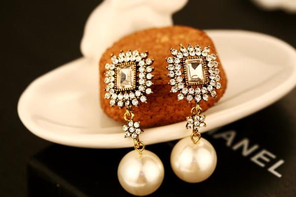 2017 earrings for women gold long dangle earrings vintage fashion big pearl jewelry earings retro temperament drop earrings channel brand