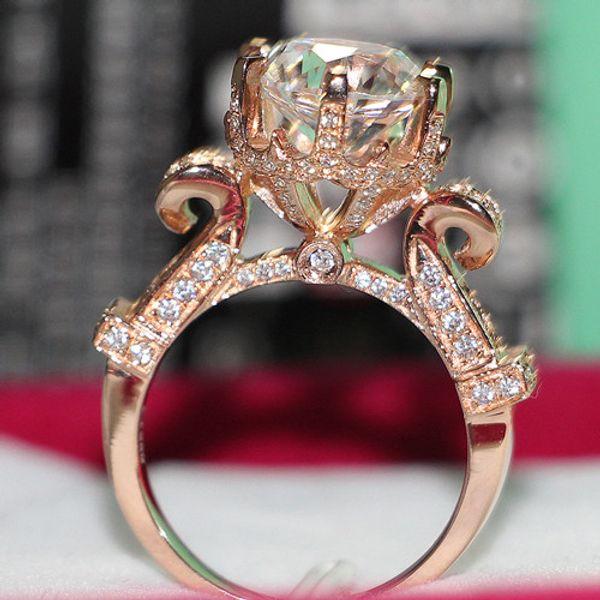 Promoción Diseño de Moda 4 ct SONA Anillo de Diamante Sintético para Compromiso de Aniversario 925 Joyería de Plata Esterlina Anillo de Oro Rosa Plateado