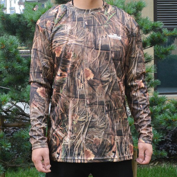 Men Bionic Camouflage Long Sleeve T-Shirt 100% Polyester Hunting Shirt Base Layer Men Outdoor Hiking Camping Tactical Shirt