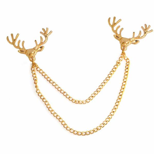Hirschkopf goldenen Kragen Pin Brosche zarte Schmuck Accessorie Geschenk Broches Revers Pin Broschen Drop Shipping