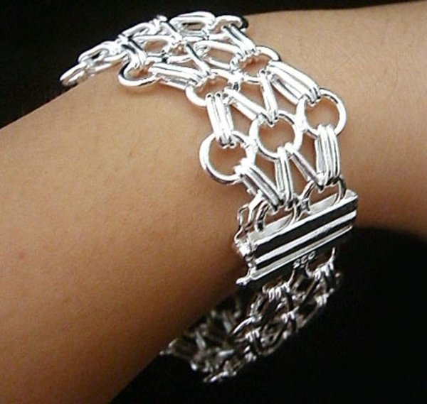 New 925 Sterling Silver Chain Bracelet for Women Men,925 Silver Fashion Jewelry 8inch Net ladder Bracelet Italy New Arrival Xmas Gift AH13