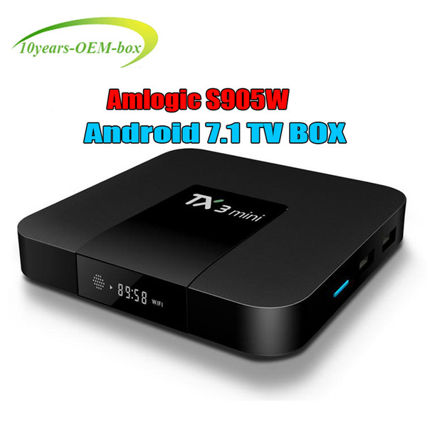 Best TX3 Mini TV BOX 2GB 16GB Quad Core Amlogic S905W Smart Box Android 7.1 Media Player 3D Free set top box