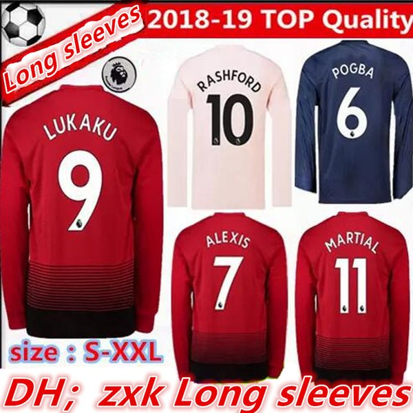 TOP Manchester United Long Sleeve Soccer Jersey POGBA ALEXIS LUKAKU  RASHFORD LINGARD FRED MATIC LINDELOF MARTIAL 869354c16