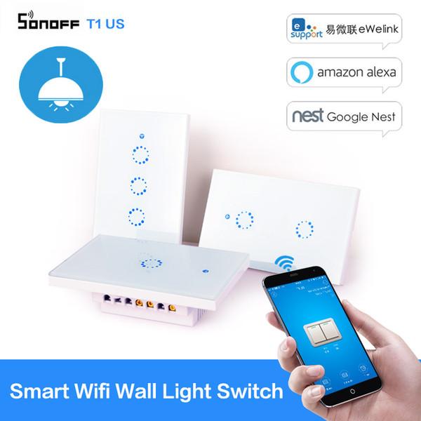 Sonoff T1 Smart Switch 1 2 3Gang WiFi RF 120 Tipo US Smart Wall Light Switch Modulo di automazione domestica Telecomando 433mhZ