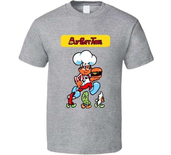 Смешные рубашки круглый вырез с коротким рукавом Бургер время ретро 80-х аркадная видеоигра футболка летний стиль повседневная одежда