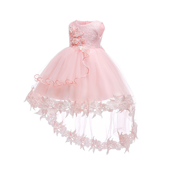 2018 Beautiful Purple and White Flower Girls Dresses Beaded Lace Appliqued Bows Pageant Gowns for Kids Wedding Party dress