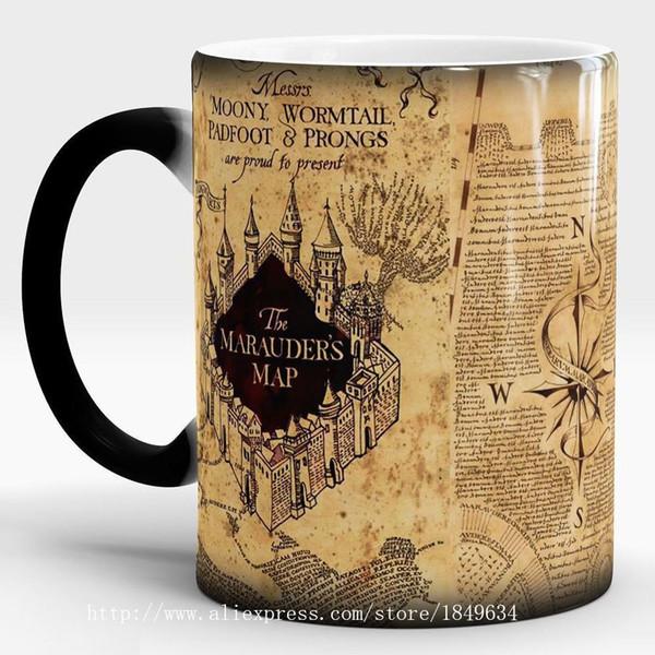 1Pcs Light Magic Marauders Map Magic Hot Cold Heat Temperature Sensitive Color-Changing Coffee Tea Milk Mug Cup
