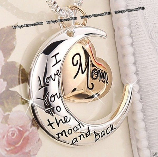 2018 High Quality Heart Jewelry I love you to the Moon and Back Mom Pendant Necklace Mother Day Gift Fashion Jewelry