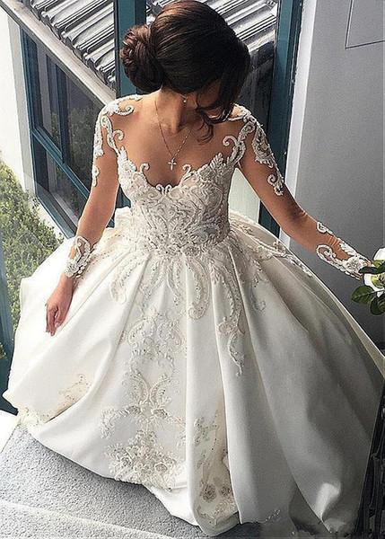 Großhandel Prinzessin Long Sleeve Ballkleid Brautkleid Satin Crystal ...