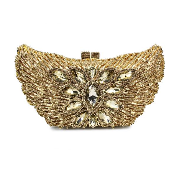 Adler Tier Aushöhlen Gold Kristall Frauen Hochzeit Handtasche Abend Kupplungen Metall Damen Handtaschen (88134A-G)