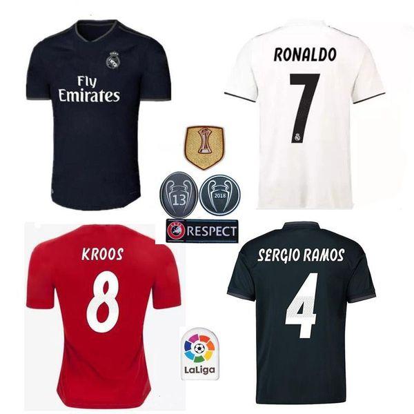 18 19 Real madrid Soccer Jersey Ronaldo Modric Kroos Sergio Ramos Bale 2018 2019 ASENSIO ISCO Champions League 13 cup football +shorts+socks