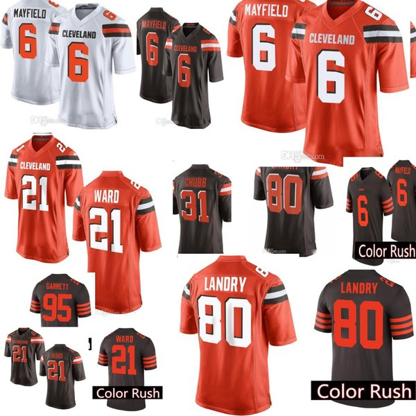 newest collection 2b3f5 24f67 2018 Cleveland Browns 6 Baker Mayfield 21 Denzel Ward 80 Jarvis Landry  Jersey Mens 95 Myles Garrett 31 Chubb 22 Peppers Jerseys Color Rush Game  From ...