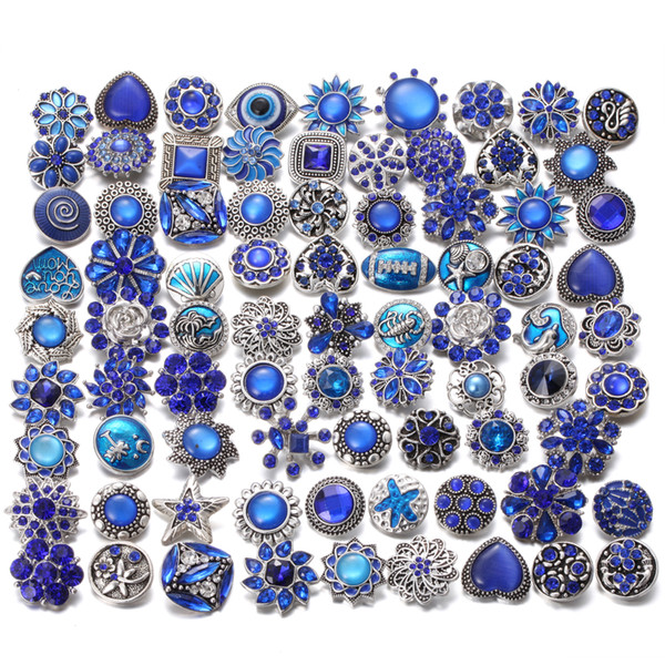 Wholesale Snap Jewelry 10pcs/lot Randomly Mixed 18mm Metal Snap Buttons Noosa Chunks Snaps Jewelry Bracelet Bangles