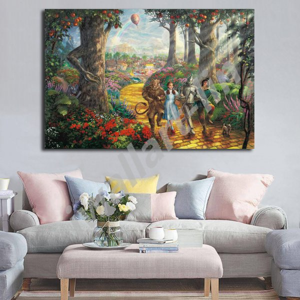 Thomas Kinkade Follow The Yellow Brick Road HD Painting Wall Art Print On Canvas Living Room Decorative Picture Home Decor