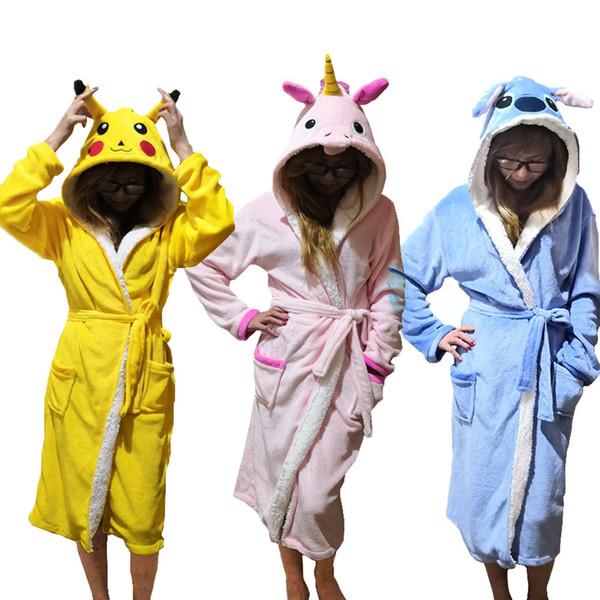 Unisex Animal Sleepwear Robe Sleep Cute Nightgown unicorn Stich night robe Bathrobe Winter Homewear Dressing Gowns For Women Men