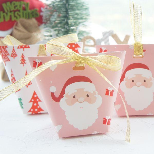 Acheter Joyeux Noël Père Noël Arbre Imprimer Boîte De Papier Biscuit Papier Bonbon Boîtes Emballage Cadeau Comme Décoration De Fête De 19 46 Du