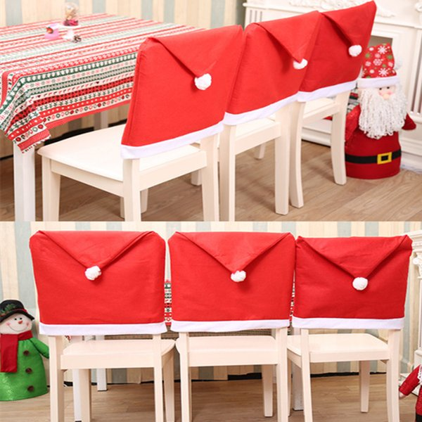 Christmas Festival Chair Cover Dining Non-woven Fabric Red Hat with Ball Back Chair Cover for Kitchen Decorative New Year LE106