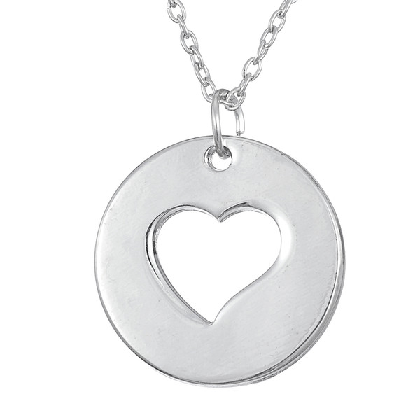 lemegeton dropshipping high polished round disc and heart shaped couple jewelry for women and girl necklace as Valentine's Day Gift