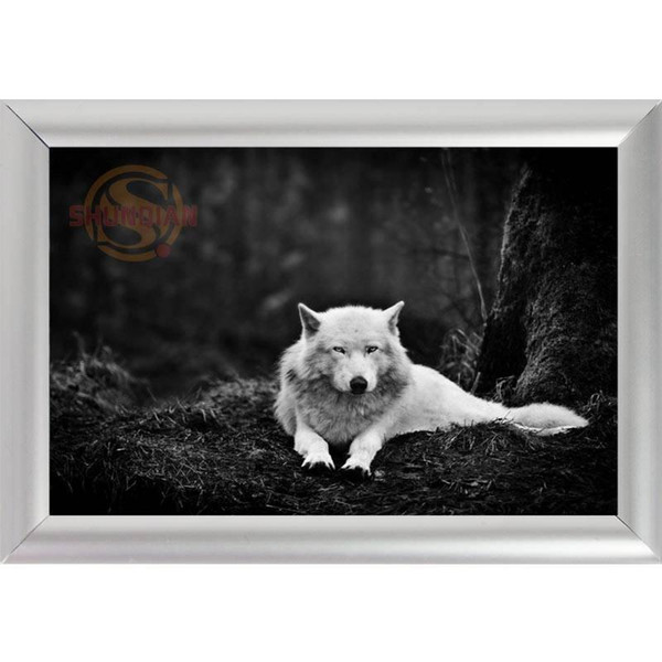Silver Color Aluminum Alloy Picture Frame Home Decor Custom Canvas Frame Animals Wolf Canvas Poster F0112#177