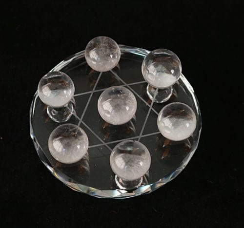 1 Set Seven Star Array Natural Star White Quartz Crystal Ball With Plate C366 natural stones and minerals
