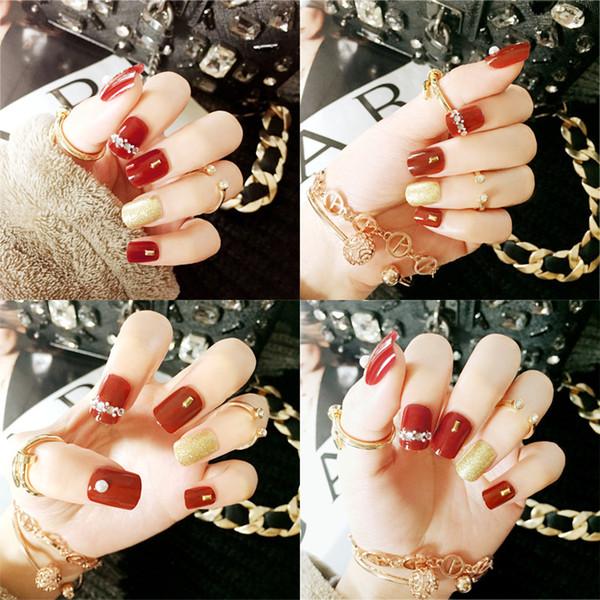 24pcs / set faux ongles Conseils de presse sur Manucure Gel Polish Conseils faux ongles Art Design courte Longueur ongles artificiels Conception d'extension