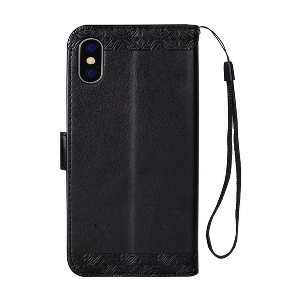 Elegant for iphone 8 plus case Embossed sunflower PU kickstand case for Goophone X wallet case with hanging strap