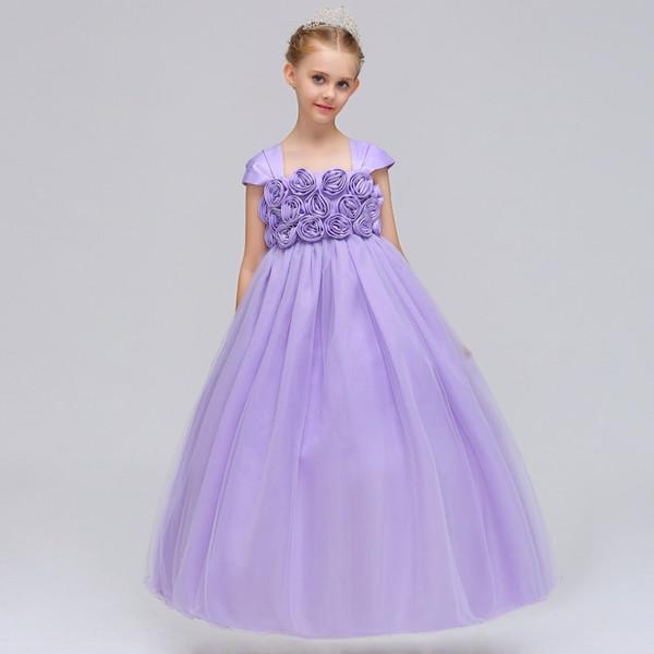 Yüksek Kaliteli Shoulderless Çiçek Kız Parti Pageant Prenses Elbise Küçük Kızlar Için Glitz Pembe Aplikler İlk Communion elbise