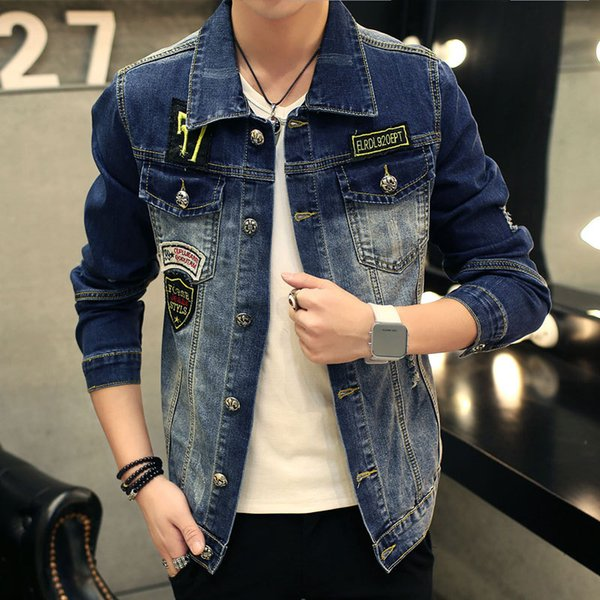 New Slim Denim Jackets Men Ripped for Coat Homme 2018 Spring Winter Patch Designs Clothing long sleeve Male Wear Jeans Jackets