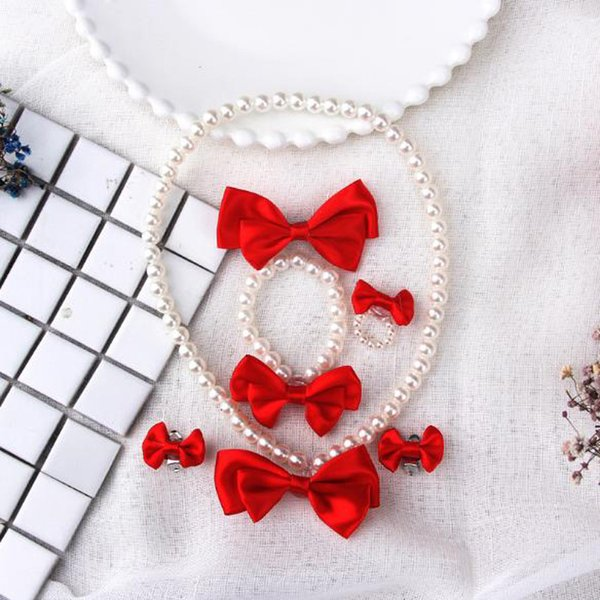 New Kids Girls Pearl Necklace Bracelet Ring Ear Clips Hairpin Sets Princess Red Bowkont Jewelry Baby Kids Jewelry Set
