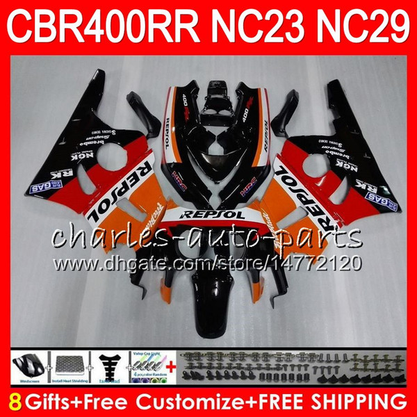 Kit For HONDA CBR400 RR NC23 CBR400RR 88 89 90 91 92 93 80HM.1 CBR 400 RR NC29 CBR 400RR 1988 1989 1990 1991 1992 1993 Repsol orange Fairing