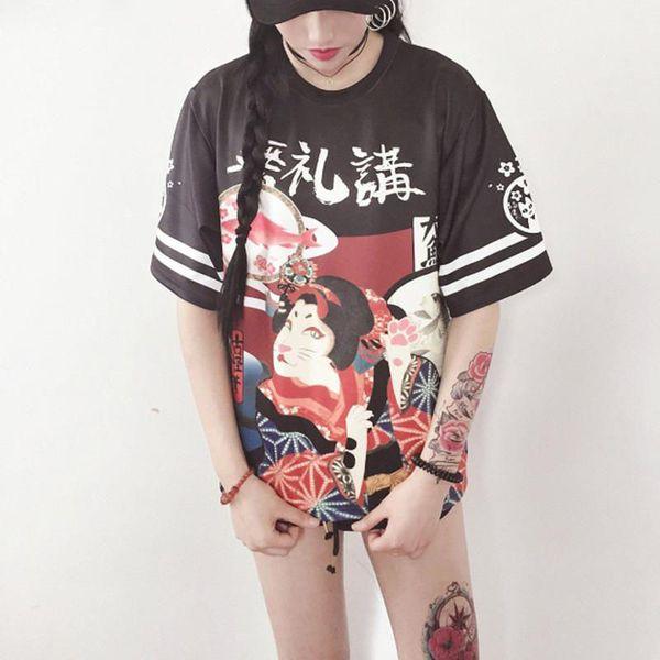 Plus Size Women Genki Japanese Girl Loose Student Teenager Harajuku T-shirt Tees