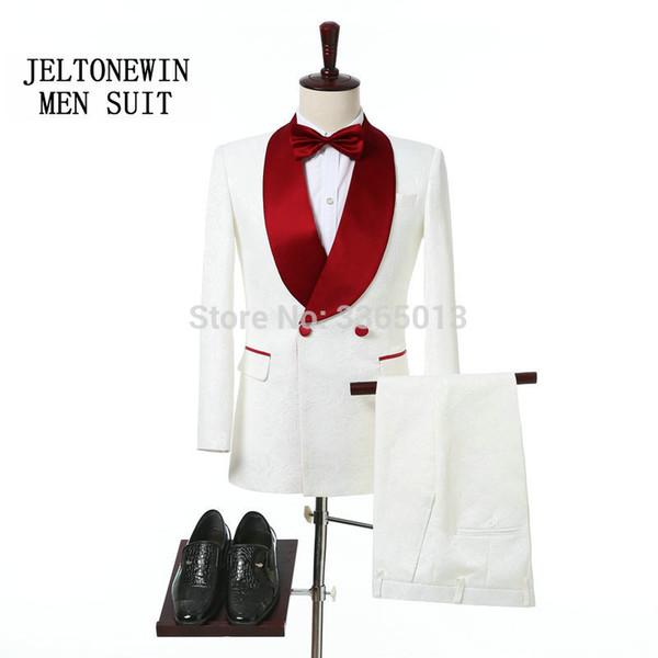 2018 Red Shawl Lapel Slim Fit Groom Tuxedos White Men Suits Latest Coat Pant Designs Wedding Suits For Men Prom Tuxedo S18101903