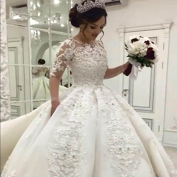 Großhandel 2018 Ballkleid Brautkleider Arabisch Juwel Hals Halbarm ...