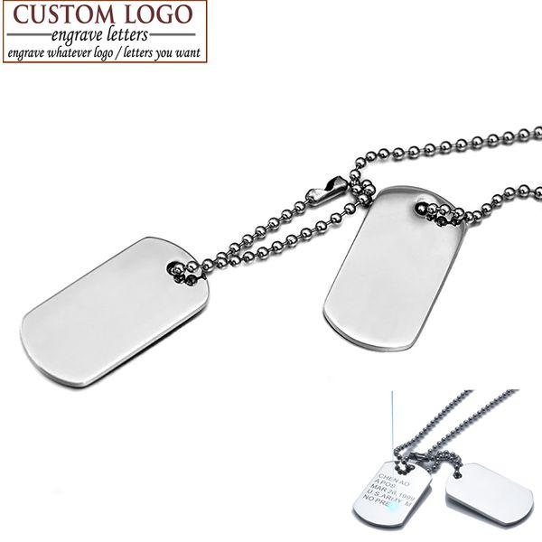Азиз BEKKAOUI мужчины ювелирные изделия пользовательские собака тег кулон ожерелья из нержавеющей стали подвески армия ID Tag ожерелье бесплатно выгравировать