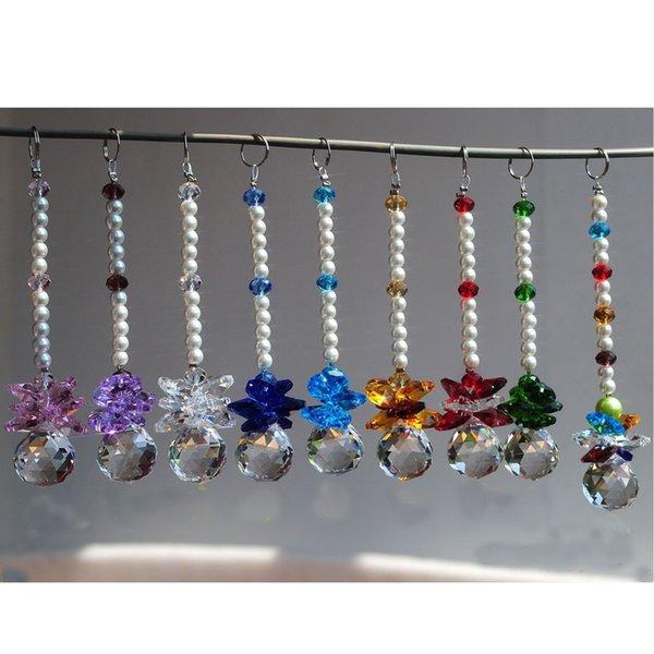 10PCS/lot Chakra Crystal Ball Chandelier Prisms Pendants Parts Suncatcher Rainbow Maker Hanging Drop Home Ornament