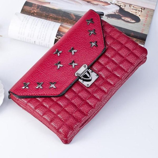 Nice- Envelope Clutch Nice Winter Fashion Plaid Rivet Design Women Handbag Brand CrossBody Bags Ladies Evening Clutch Purse Hand Bags