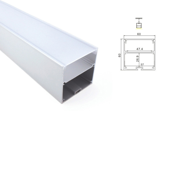 100 X 1M sets/lot 6000 series led aluminum profile channel and new arrival large square alu extrusion for suspension or pendant lighting