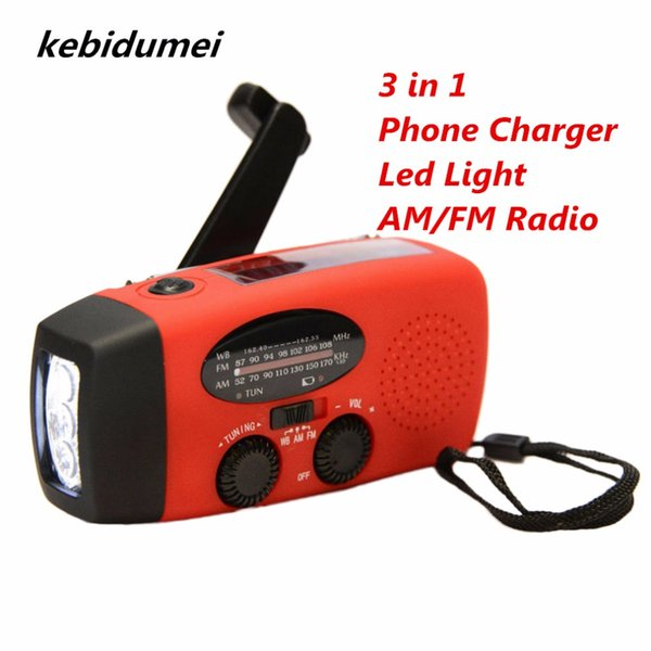 3 in 1 Mini Emergency Hand Crank Phone Charger Solar Portable Radio FM AM Waterproof SOS Survival with LED Flashlights