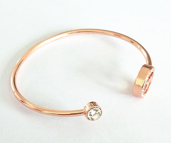 с логотипом роскошный известный большой бренд Mk браслет цепи M серии Алмаз открытый браслет регулируемая мода для мужчин и женщин