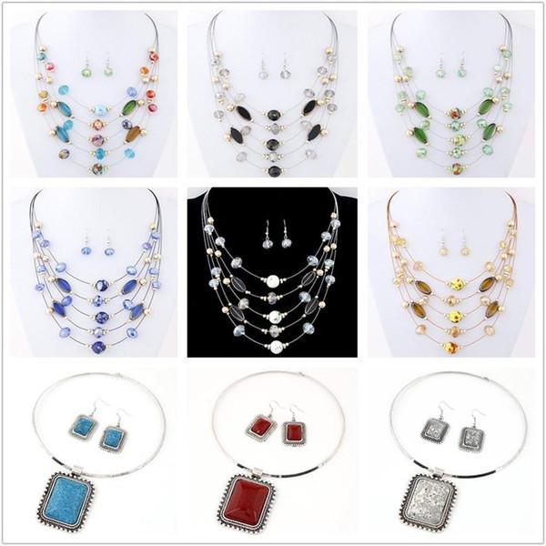 champagne noir blanc vert couleur multi-coréen exquis tout match Bohème collier perle de cristal de la mode boucles d'ensemble de bijoux