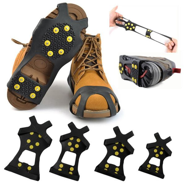 10 Steel Studs Ice Cleats Anti-Skid Snow Ice Climbing Shoe Spikes Grips Crampons Cleats Overshoes Climbing Gripper 2pcs/pair OOA3877