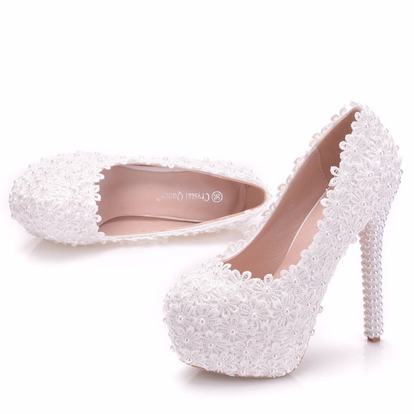 New handmade fashion Round toe shoes for women white pearls high heel wedding shoes lace flowers super heels Plus Size bride Shoes