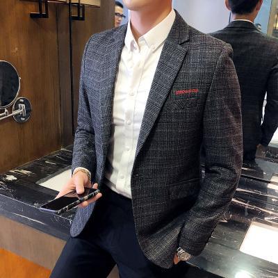 2018 новый повседневный костюм мужской тонкий корейский версия тенденции красивый британский стиль пиджак одно пальто