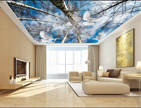 Großhandel Customization Sky Baum 3D Decke Wandbild Tapete Hotel ...