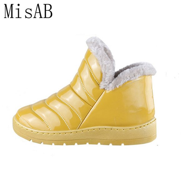 2016 new candy color women winter boots waterproof snow boots fashion fur warm ankle antiskid flat alf509